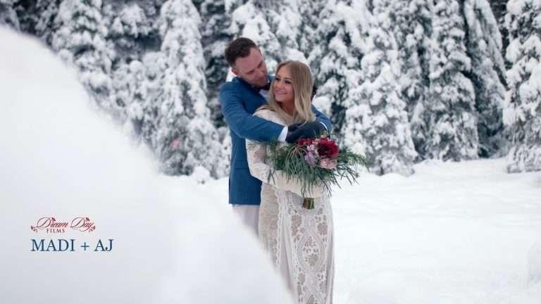 Thumbnail overlay for Madi and AJ's wedding video