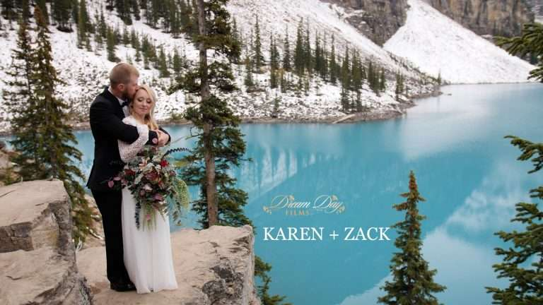 Video still showing Karen and Zack at Moraine Lake