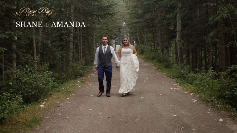 Still overlay with title for Shane and Amanda's Banff wedding video