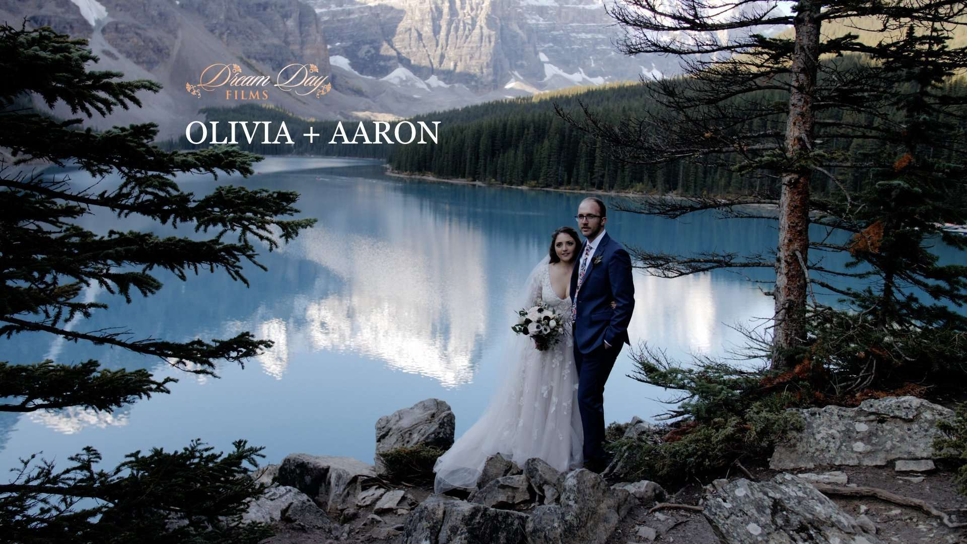 moraine lake image to overlay Aaron and Olivia's wedding video